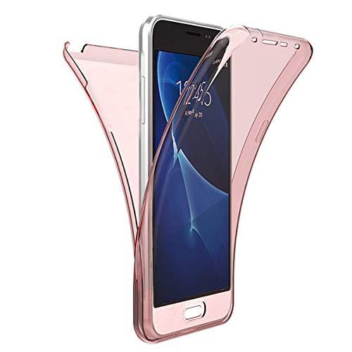QPOLLY Compatible con Huawei P9 Lite Mini Funda Transparente Gel de Silicona Cubierta Completa Proteccion Frontal y Trasera de 360 Grados Suave Ultra Fina TPU Funda de Parachoques Cover, Oro Rosa