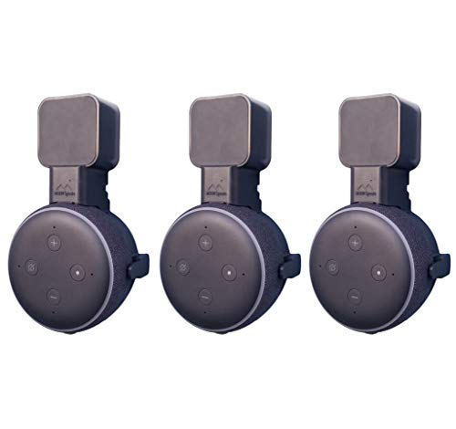 Dot Genie [Square Plug ONLY 2018-2020 | Amazon Echo Dot 3rd Gen Wall Mount | The Original Outlet Hanger | No Muffled Sound | Exposed Speaker Grill, Mics, and Lights (Black, 3-Pack)