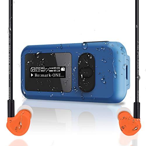16GB wasserdichtIP68 Schwimmen MP3-Player mit Bildschirm, drehbarem Clip,USB-Anschluss. Mehr als 10 Stunden Wiedergabe und kann Untertauchen bis 3M widerstehen