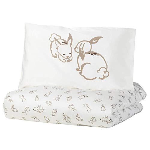 Ikea Rodhake Crib Duvet Cover/Pillowcase Rabbit Pattern White/Beige 43x49/14x22 304.401.73