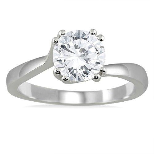 Anillo de compromiso solitario con diamante de 1 quilate certificado AGS en oro blanco de 14 quilates (color J-K, claridad I2-I3)