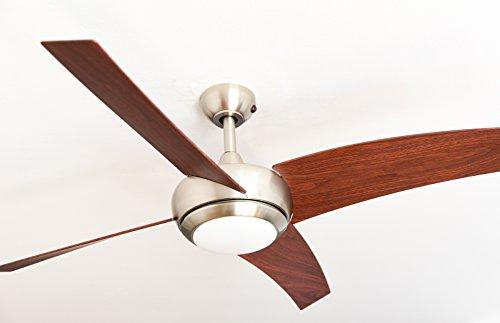 Ventilatore a soffitto AireRyder Borealis con illuminazione e telecomando, corpo in nickel satinato, Metallo, Flügelfarbe Walnuss, 122 x 122 x 37 cm 70watts, led
