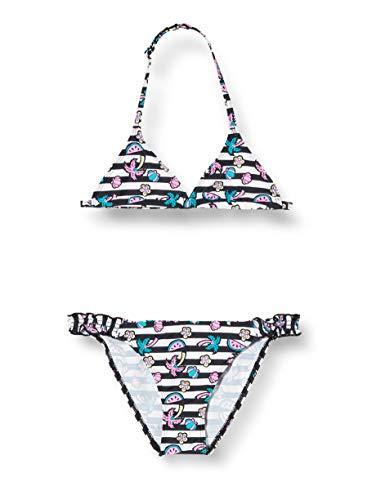 ARENA Mädchen Triangel Bikini Tropical Summer, White Black, 128