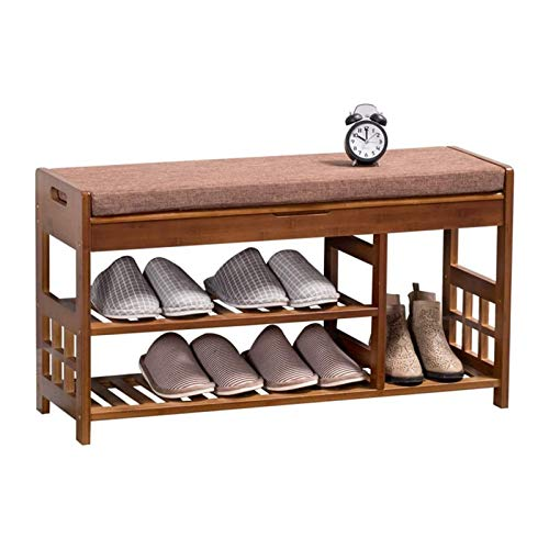 LMCLJJ Banco de taburete de zapatos Banco de bambú Banco de zapatos 3-nivel Zapato Rack Entrada Organizador de almacenamiento con asiento acolchado para sala de estar Pasillo para sala de vestíbulo Do