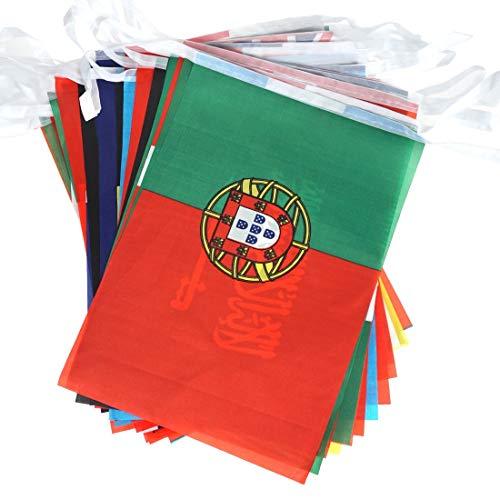 Omenluck 32 Stück Kartendekorationen Wimpelkette Multi Nation Straßenparty Banner Weltflaggen