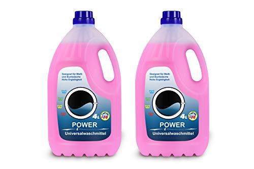 Power Universal Flüssig Waschmittel 2x4L │ Flüssigwaschmittel für Weiß- und Bunt- und Handwäsche │ Vollwaschmittel in der Großpackung │ geeignet für Color-Wäsche│ hohe Ergiebigkeit, ca. 140 Wäschen