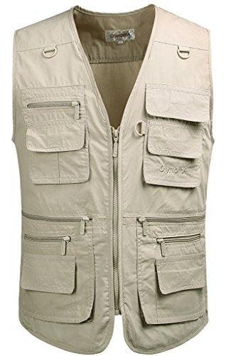 Mrignt Men's Oversize Pockets Travels Sports Vest(Outdoor Coat)(Khaki,US XL (Tag 4XL))