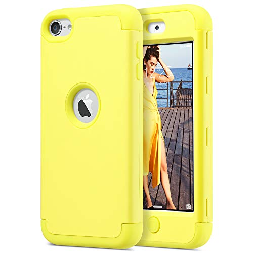 ULAK iPod Touch 7 Case iPod Touch Case 6th Generation iPod 5 Case Heavy Duty High Impact Shockproof Protective Cover for Apple iPod Touch 5th/6th/7th Generation Latest Model Yellow