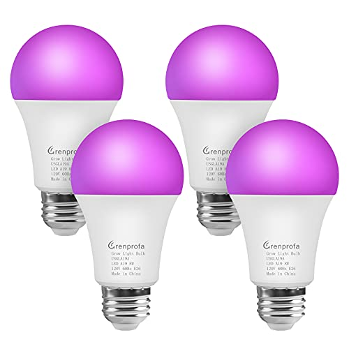 GRENPROFA 성장 라이트 벌브 실내 플랜트용 4팩 A19 LED 성장 벌브 적색   청색 스펙트럼 라이트 E26 중간 베이스 8W 종자 시동용 플랜트 라이트 벌브 꽃 그린하우스 야채 수경재배
