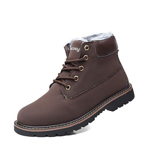 Hombres Zapatos de Nieve Invierno Botines, gracosy Calentar Botas De Nieve Anti-Deslizante Lazada Zapatos Botas de Trabajo Más Terciopelo Botines Botas con Pieles