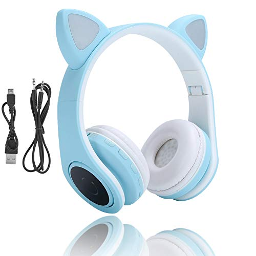 KIKYO LED Cat Ear Noise Reduction-Kopfhörer, tragbares Bluetooth 5.0-Headset mit Mikrofon