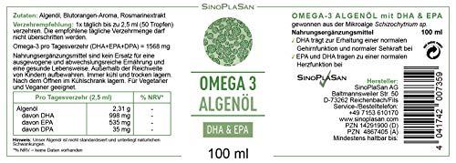 Omega 3 Algenöl, 998mg DHA & 535mg EPA pro 2.5ml, vegan, JETZT MIT TROPFER & allen ANALYSEN, 100 ml - 4