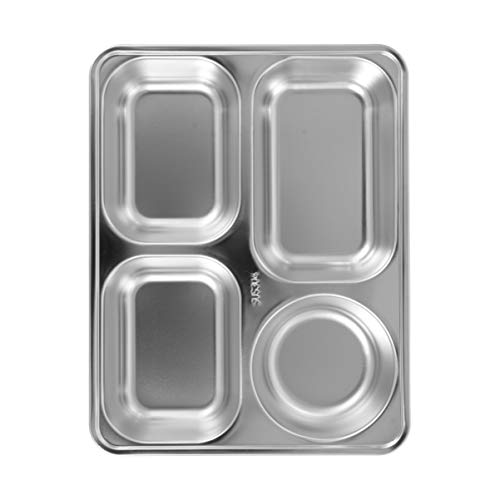 Hemoton Plato para Servir Comida Dividido Platos Rectangulares de 4 Compartimentos de Acero Inoxidable Bandeja de Desorden Plato de Desayuno Almuerzo Plato de Cena