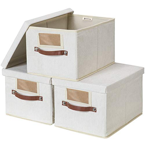hdx storage cabinets 3 Storage Basket with Lid, Cube Storage Bins with Lid for Closet Shelves, Corduroy Thick Clothes Bins Containers for Organizing Shelf Nursery Home Closet
