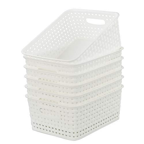 Kiddream Set of 6 Plastic Weave Storage Basket Pantry Organizing Bin white
