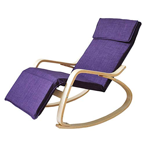 WSDSX folding camping chair Solid Wood European-style Adult Rocking Chair/Office Siesta Recliner/Balcony Casual Backrest Chair/Removable Practical Chair (8 Colors Optional) Beach Sun Lounger Chair