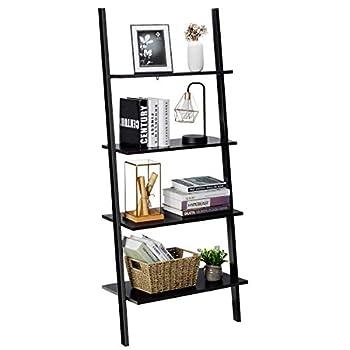 Tangkula Industrial 4-Tier Ladder Shelf Against The Wall Bookcase for Living Room & Office Multipurpose Bookshelf Plant Flower Stand Storage Rack Shelves with Metal Frame  Black