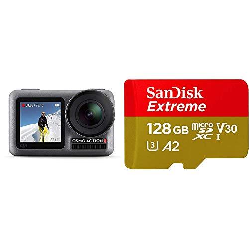 DJI Osmo Action Cam - Digitale Actionkamera mit 2 Bildschirmen 11m wasserdicht 4K HDR-Video 12MP, Schwarz & SanDisk Extreme microSDXC UHS-I Speicherkarte 128 GB + Adapter & Rescue Pro Deluxe