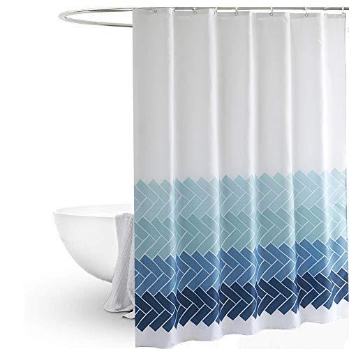 MYQIANG Duschvorhang aus Stoff Anti-Schimmel und Wasserdicht Chevron Badewannenvorhang mit verstärktem Saum für Badewanne & Badezimmer,Turquoise Zickzack Muster,180x180cm