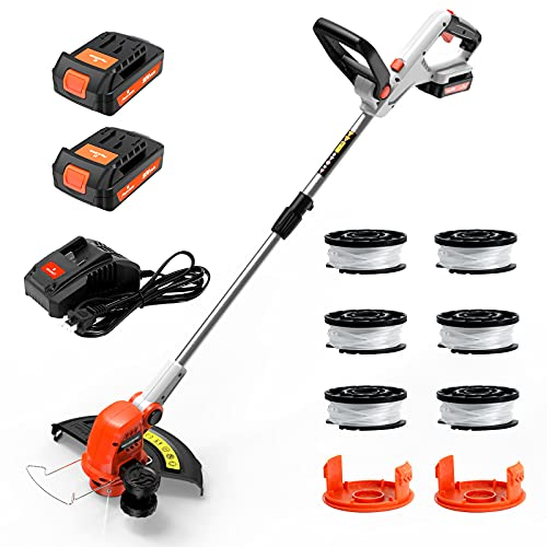 PAXCESS 20V 12-Inch Cordless String Trimmer/Weed Eater, 2 PCS 2.0Ah Battery & Charger Weed Wacker, 6 PCS Spool Line & 2 Cap Included, 180° Rotatable Handle, Adjustable Rod Length, Lightweight