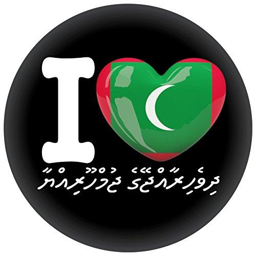 FanShirts4u Button/Badge/Pin - I Love MALEDIVEN Fahne Flagge MALDIVES (I Love Malediven/Dhivehi)