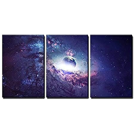 Wall26 3 Piece Canvas Wall Art Universe Scene With Planets Stars And Galaxies In Outer Space Modern Home Art Stretched And Framed Ready To Hang 16 X24 X3 Panels