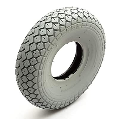 Tyre 330x100 Grey Diamond Block Tread Fits Mobility Scooter 5 Inch Wheel Rim 4 Ply