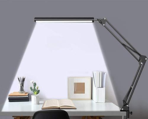 CestMall デスクライト LEDデスクスタンド USB給電 クランプ付き 電気スタンド アームライト 10段階調光 3段階調色 360°回転 平面発光 目に優しい 省エネ メモリー機能 折りたたみ式 視力ケア テーブルランプ 読書灯 卓上ライト 読書
