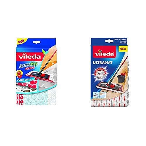 Vileda WischMat Extra, Wischbezug mit 3D Flockstruktur, 1 Stück & Ultramat 2in1 Ersatzwischbezug