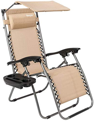 Bonnlo Zero Gravity Chair with Canopy Patio Sunshade Lounge Chair, Adjustable Folding Shade Reclining Chairs with Cup Holder and Headrest for Beach Garden (Beige)