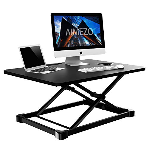 AIMEZO Height Adjustable Standing Desk Converter, Standing Desk Converter,Sit-Stand Desk Riser with Gas Spring Riser Table for Standing or Sitting Fully Assembled