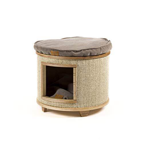 Cotec Tam Katzenhöhle – Holz Kratzhöhle, Robuste Kratzsäule, Handgefertigte Kratzmöbel für Katzen, Sisal Kratztonne für Haustiere, Katzenhäuschen mit Kissen (Stoff: Taupe) – Holz / Beige (Höhe: 46cm)