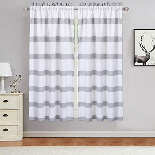 Haperlare Cafe Curtains 45 inches Long Waffle Weave Textured Basement Yarn Dyed Stripe Pattern Kitchen Window Curtain Panels Home Decor Rod Pocket Window Treatment Drapes, Grey, Set of 2