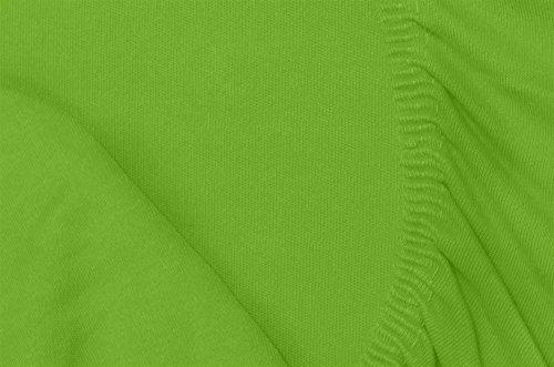 Double Jersey – Spannbettlaken 100% Baumwolle Jersey-Stretch bettlaken, Ultra Weich und Bügelfrei mit bis zu 30cm Stehghöhe, 160x200x30 Lime - 7