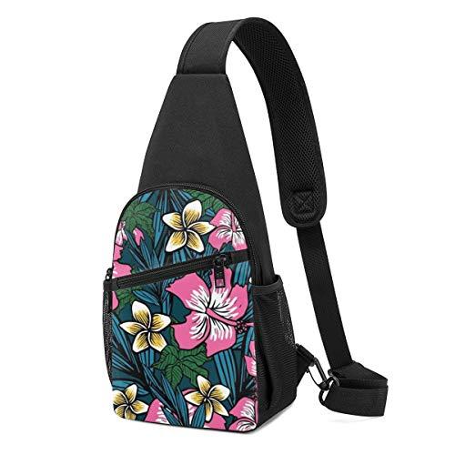 PGTry Bolsa de hombro de fondo de flores polinesia, ligera, mochila para el pecho, bolsa cruzada, bolsas de viaje, senderismo, para hombres y mujeres