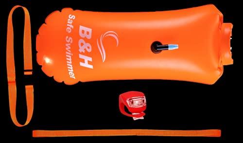 Schwimmboje mit trockentasche und licht um auch in der dämmerung hervorzuheben -Triathlon swim Buoy erwachsene - Aufblasbare swim bubble - Schwimm boj - Rettungsboje schwimmer - Schwimmsack | Audacity