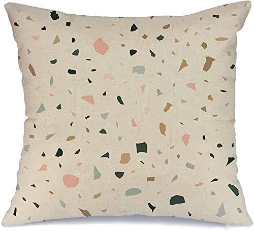 Decoración Throw Pillow Cover Funda de cojín Ágata rosa Terrazo Piedra rota Granito Mosaico Mármol Abstracto Negro Concreto Confeti Dark Ditsy Funda de Cojine 45 X 45CM