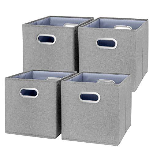 TYEERS 4 Paquetes Cubos de Almacenamiento Plegables con Doble Asa, Cestas de Almacenamiento de Tela de Catiónico Lavable, Cajas Organizadores de Almacenaje para Juguetes, Ropa y Libros, etc. - Gris