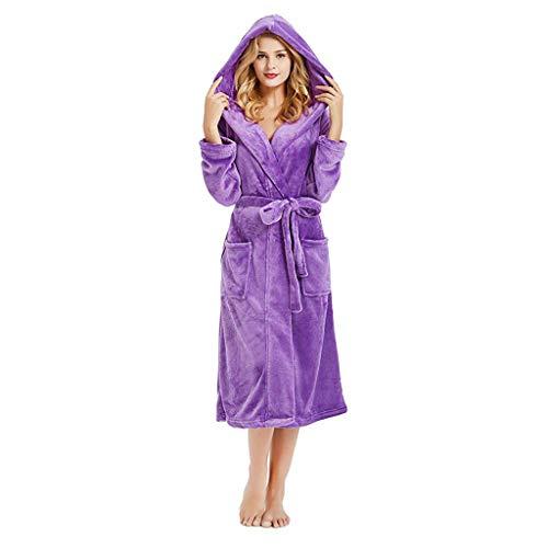 Pijamas de Terciopelo con Capucha para Mujer Bata Mujer Invierno Albornoz con Capucha Bata de baño para Mujer Franela riou