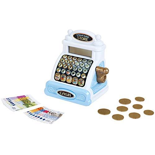 Theo Klein 9309 Vintage Kasse I Nostalgische Registrierkasse mit charmanten Soundmodulen I Taschenrechnerfunktion I Maße: 18,2 cm x 14,8 cm x 21,8 cm I Spielzeug für Kinder ab 3 Jahren