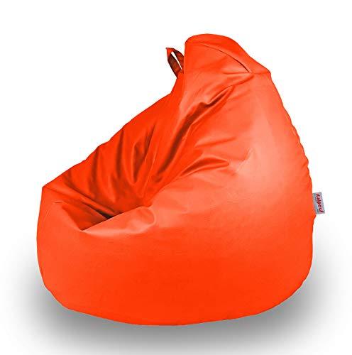 Italpouf Pouf Sacco Ecopelle per Bambini 77 Ø x 90cm, Poltrona Sacco Bambini Pera, Pouf Sacco Imbottito, Pouf Ecopelle Sfoderabile (Pouf Sacco L Bambini, Arancione)