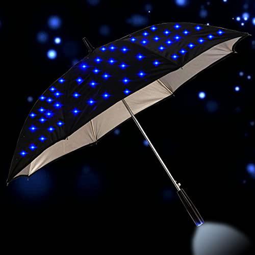 BINGHC Paraguas, 23 Pulgadas al Aire Libre Fresco Largo manejado LED Intermitente Lluvia Paraguas protección Noche de Moda Regalo de Moda Mango Grande Destello Recto Parasol