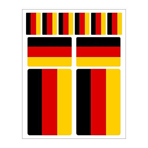Generisch 10 Stück Deutschland Aufkleber Flaggen Set | Sticker Germany Autoaufkleber