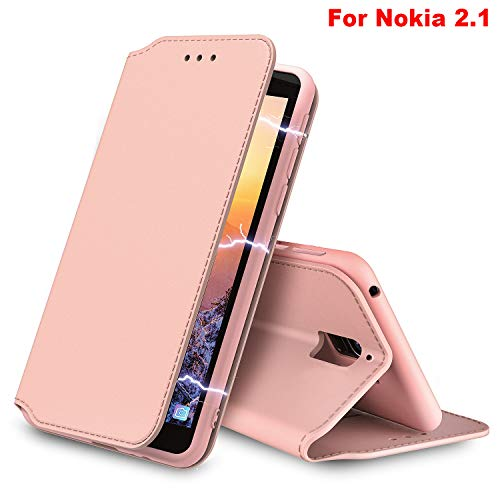 """AURSTORE Etui Coque Nokia 2.1 2018, Protection Etui Housse en Simili Cuir Portefeuille Livre,[Emplacements Cartes],[Fonction Support],[Fermeture Magnétique] pour (Nokia 2.1 (5,50""""), Rose Gold)"""