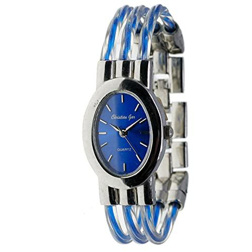 Christian Gar Cg-88547-1 Reloj Analógico para Mujer Caja De Metal Esfera Color Azul