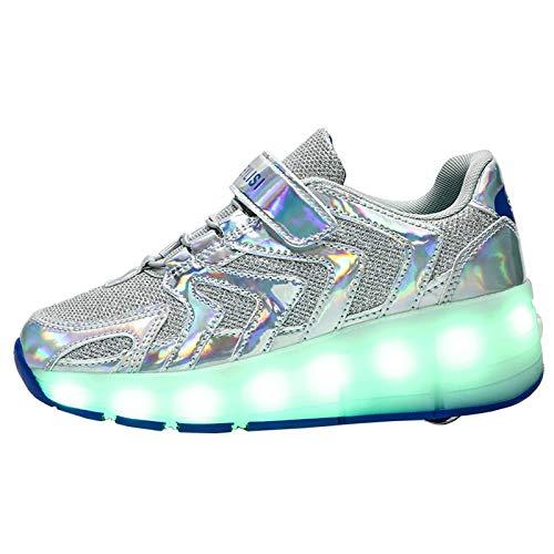 GBZLFH Zapatillas de Skate Unisex con LED, Zapatillas de Deporte de Skate técnicas retráctiles de Ruedas Individuales, Zapatillas de Gimnasia de Moda con vibración Intermitente,Plata,36