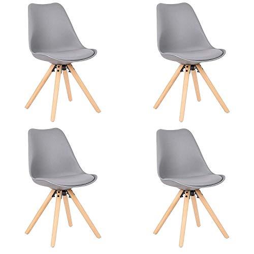 Comfortableplus Set di 4 sedie da Pranzo Moderne Tulip, Sedile Imbottito Morbido, Piedi in Legno di faggio, Schienale ergonomico,Grigio
