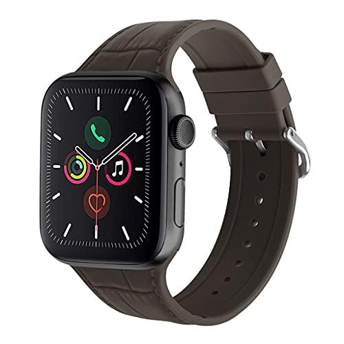 HNLHAKER Compatible con La Correa del Reloj De Apple 6 5 4 3 2 1 SE, Patrón De Bambú Modelos De Silicona Strap, IWATCH Strap 38Mm 40Mm 42Mm 44Mm,B,42/44MM