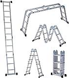 ERGOMASTER Folding Step Ladder 3.3ft to 12.5ft Multi-Purpose Aluminum Scaffold Ladders Heavy Duty Combination EN 131 Standard Foldable Stepladders 330LB