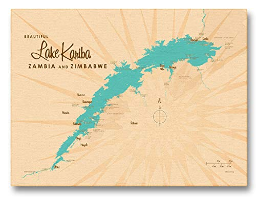 Lake Kariba, Zambia & Zimbabwe Vintage-Style Map Giclee Archival Canvas Print Wall Art Décor for Home & Office by Lakebound (9' x 12')